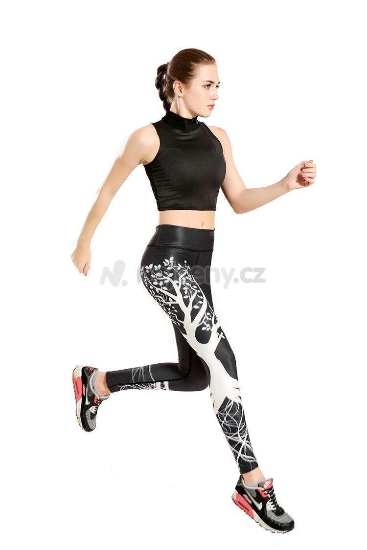 Dámské sportovní fitness legíny s potiskem stromu pro stylové posilování i  běh bcee9b97e6