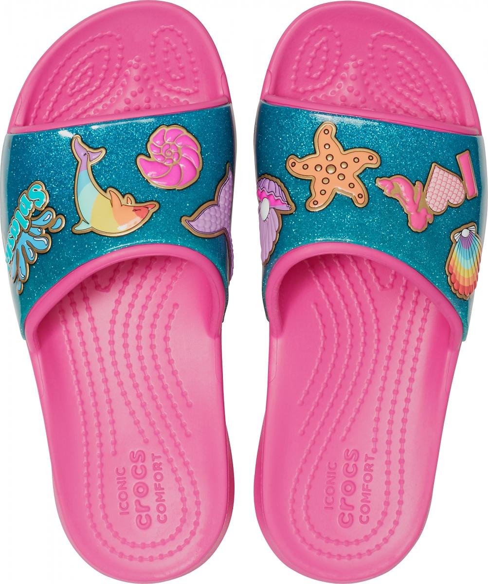 8fdeabf840c Holčičí pantofle (nazouváky) Crocs Fun Lab Beach Fan Slide v originální  plážové grafice