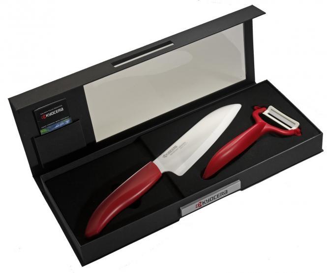 Keramický nůž Kyocera FK-140WH-RD + škrabka Kyocera CP-10NRD - Červená