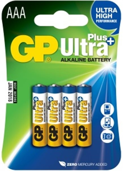 Alkalická baterie GP Ultra Plus 4x AAA 1017114000