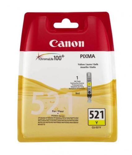 Žlutá inkoustová kazeta Canon CLI-521Y (MP 550, IP 4700) - Originální 2936B001