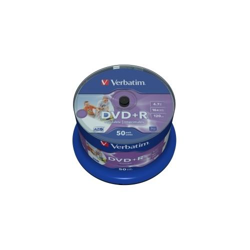 Média DVD+R Verbatim 4.7GB 16x,Printable,Cake 50ks 43512
