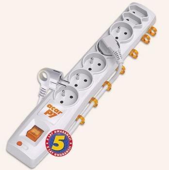 Acar P7 1.5m kabel, 5+2 zásuvek, přepěťová ochrana, bílá