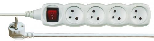 Prodlužovací kabel s vypínačem 4 zásuvky 3m, bílý