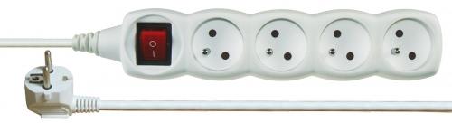 Prodlužovací kabel s vypínačem 4 zásuvky 2m, bílý