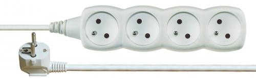 Prodlužovací kabel 4 zásuvky 2m, bílý