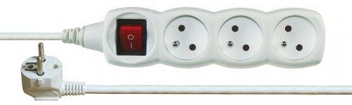 Prodlužovací kabel s vypínačem 3 zásuvky 3m, bílý