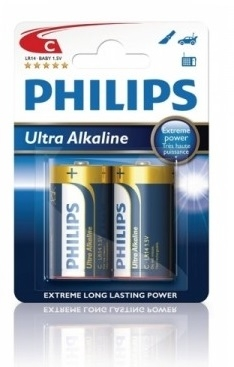 Alkalické baterie Philips ExtremeLife C 1.5V, 2ks