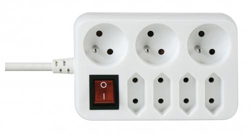 Prodlužovací kabel s vypínačem 3 + 4 zásuvky 3m, bílý