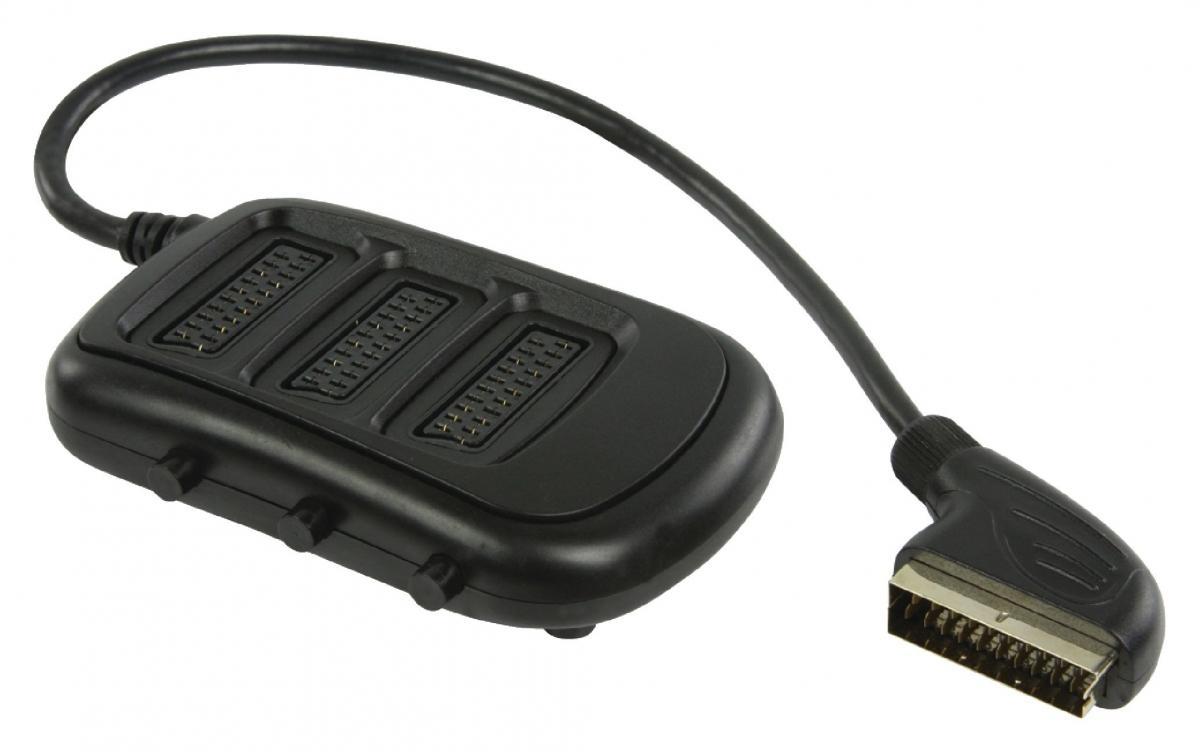 SCART rozbočovač s přepínačem, zástrčka SCART – 3× zásuvka SCART, 0,50 m, černý (VLVP31835B05)