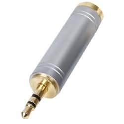 Stereo Audio Adaptér 3.5mm Zástrčka - 6.35mm Zásuvka Stříbrná