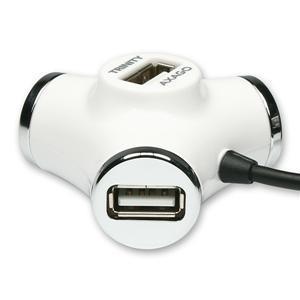 AXAGO externí 4x USB2.0 TRINITY hub - bílý HUE-X3