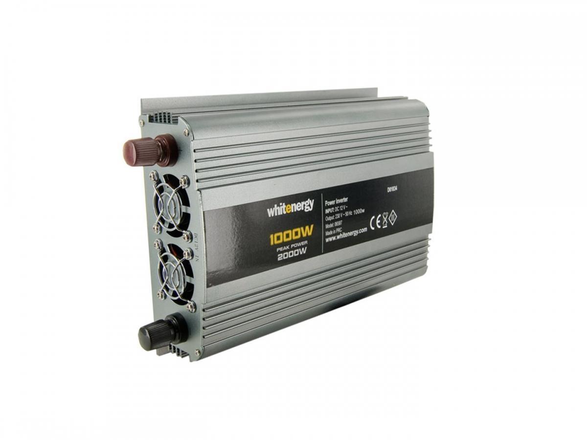 WE Měnič napětí DC/AC 12V / 230V, 1000W, 2 zásuvky 06587