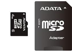 ADATA microSD 32GB Class 4 + Adaptér AUSDH32GCL4-RA1