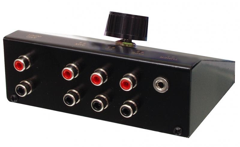 Přepínač audio vstupů 4->1, CINCH + 3,5 mm jack