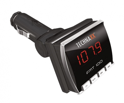 Technaxx FM transmitter + MP3 přehrávač, LCD displej, audio JACK/ USB/SD, DO (FMT100) 906