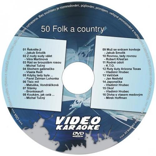 KARAOKE ZÁBAVA: Karaoke DVD 50 Folk a country