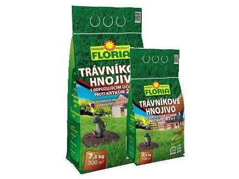 Hnojivo Agro FLORIA Trávníkové hnojivo s odpuzujícím účinkem proti krtkům 7,5kg