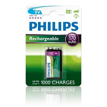 Nabíjecí baterie Philips MultiLife 9V 170 mAh, 1ks