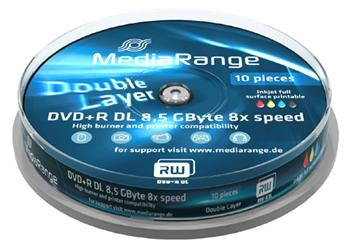MEDIARANGE DVD+R 8,5GB 8x Dual Layer spindl 10pck/bal Inkjet Printable MR468
