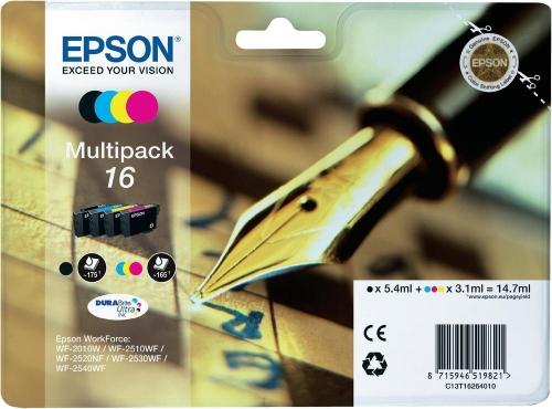 Barevné inkoustové kazety EPSON T1626 CMYK Pack pro WorkForce 2010/2510 (WF-2010, WF-2510) - Originální C13T16264010
