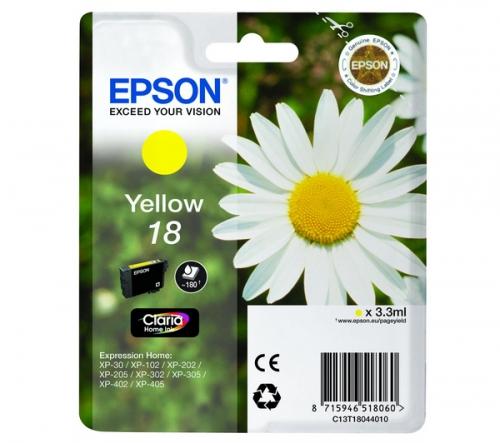 Žlutá inkoustová kazeta EPSON T1804 pro Expression Home XP-102/XP-205/XP-405 - Originální C13T1