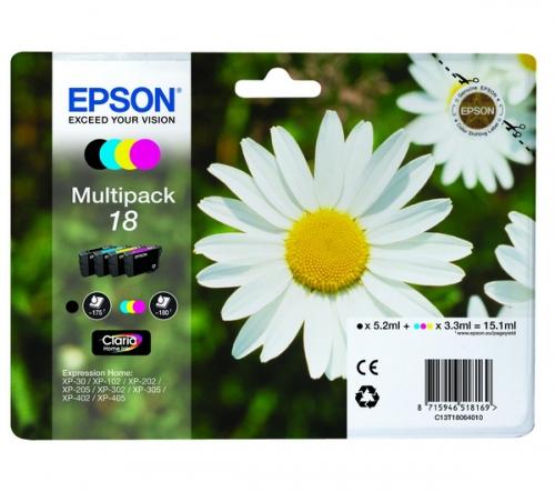 Barevné inkoustové kazety EPSON T1806 CMYK Pack pro Expression Home XP-102/XP-205/XP-405 - Originální C13T18064010