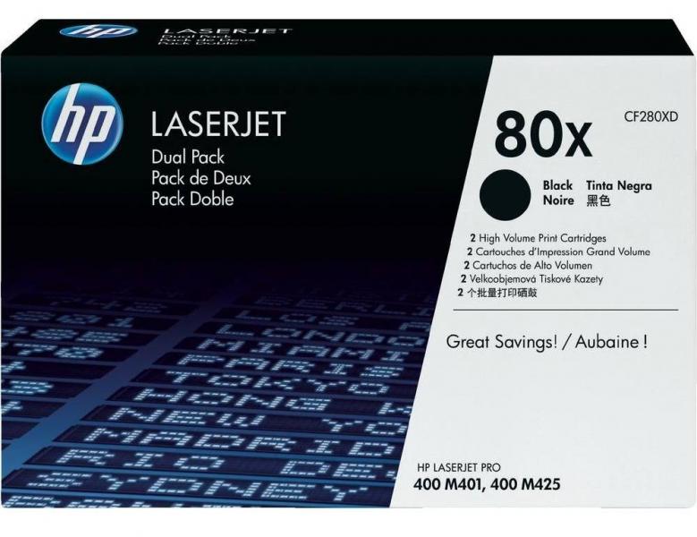 Černé tonerové kazety HP (CF280XD) Dual pack pro LaserJet M401 - Originální CF280XD