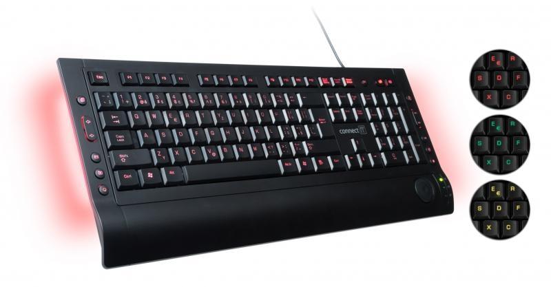 CONNECT IT LED podsvícená klávesnice 3 barvy, USB CI-46