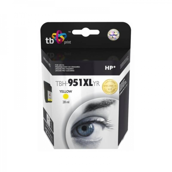 Žlutá inkoustová tisková kazeta HP 951XL (HP951XL, HP-951XL, CN048AE), TB - Kompatibilní TBH-951XLYR