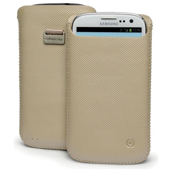 Pouzdro Celly Corretto pro velké smartphone, PU kůže, béžové CCORXXL04