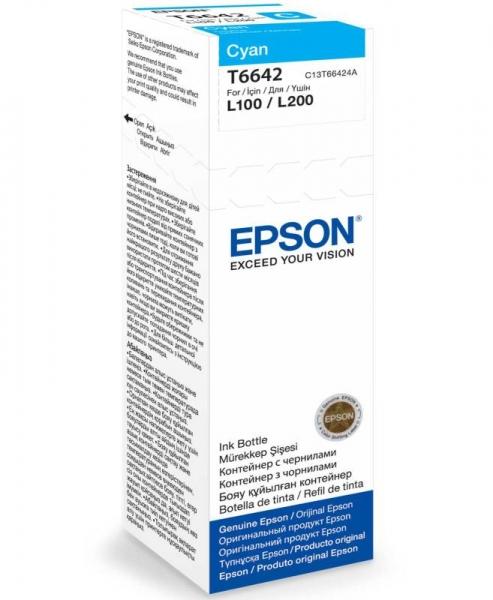 Azurová inkoustová náplň Epson (T6642) pro Epson L110/L200 - Originální C13T66424A