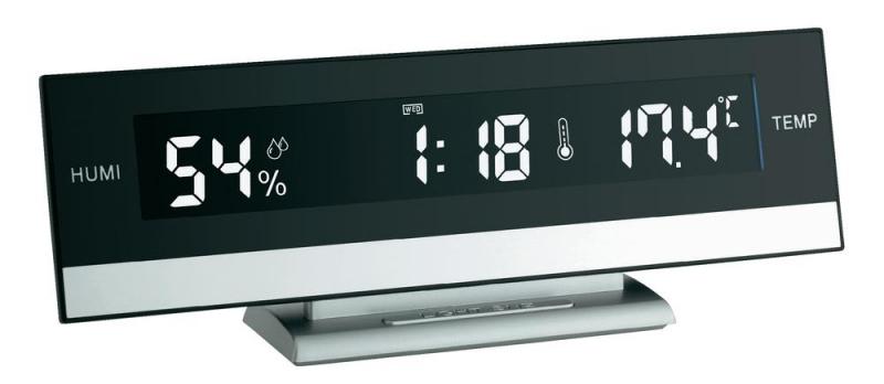 Digitální stolní hodiny s teploměrem a vlhkoměrem TFA