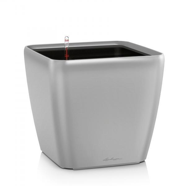 Květináč Lechuza Quadro LS - Stříbrná, rozměr 35