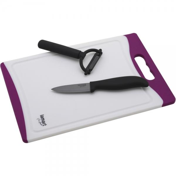 Sada Lamart LT2020, keramický nůž, škrabka a prkénko
