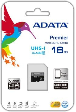 ADATA 16GB Micro SD SDHC class 10/UHS-I Premier AUSDH16GUICL10-R