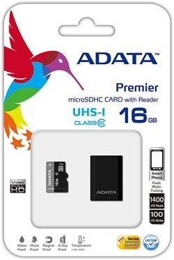 ADATA 16GB Micro SD SDHC class 10 + reader/UHS-I Premier AUSDH16GUICL10-RM3BKBL