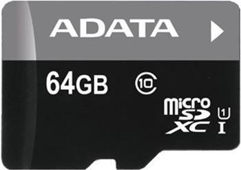 ADATA 64GB MicroSDXC Premier,class10 with Adapter (AUSDX64GUICL10-RA1) AUSDX64GUICL10-RA1