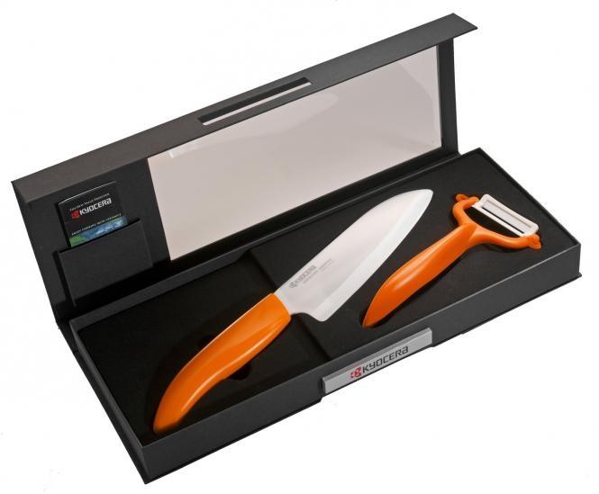 Keramický nůž Kyocera FK-140WH-OR + škrabka Kyocera CP-10NOR - Oranžová