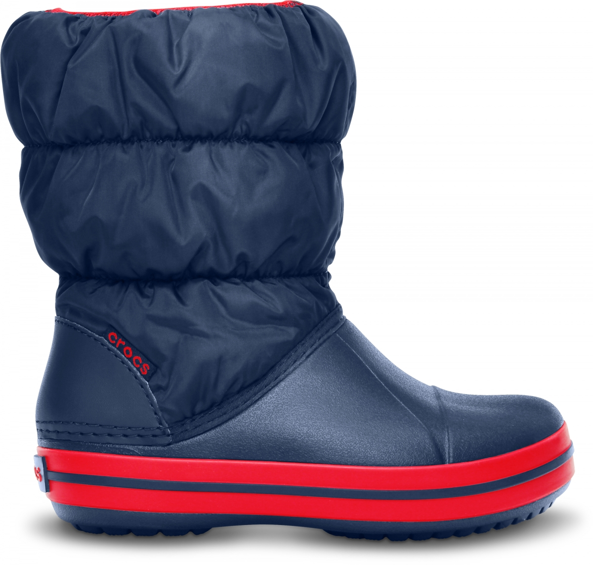 Crocs Winter Puff Boot Kids - Navy/Red, C12 (29-30)