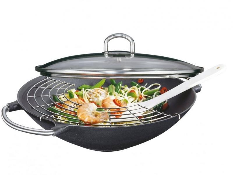 Küchenprofi Litinová wok pánev se skleněnou poklicí PREMIUM, 36 cm