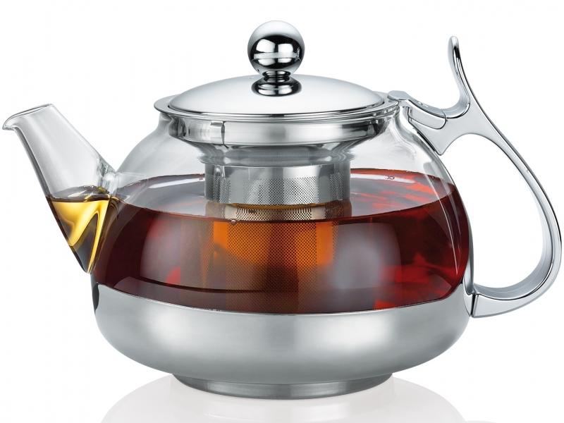 Küchenprofi konvice na čaj s filtrem Lotus, sklo/nerez, 1200 ml