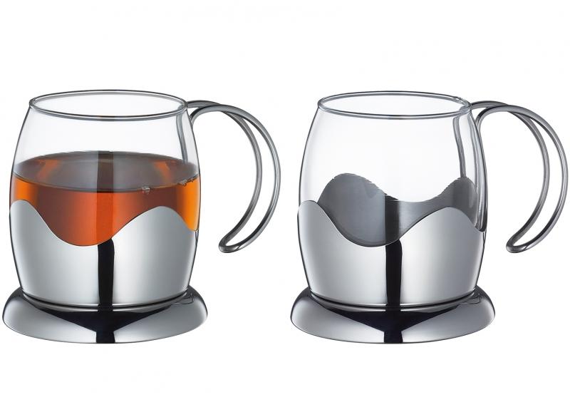 Küchenprofi set šálků na čaj, sklo/nerez, 2ks, 200ml
