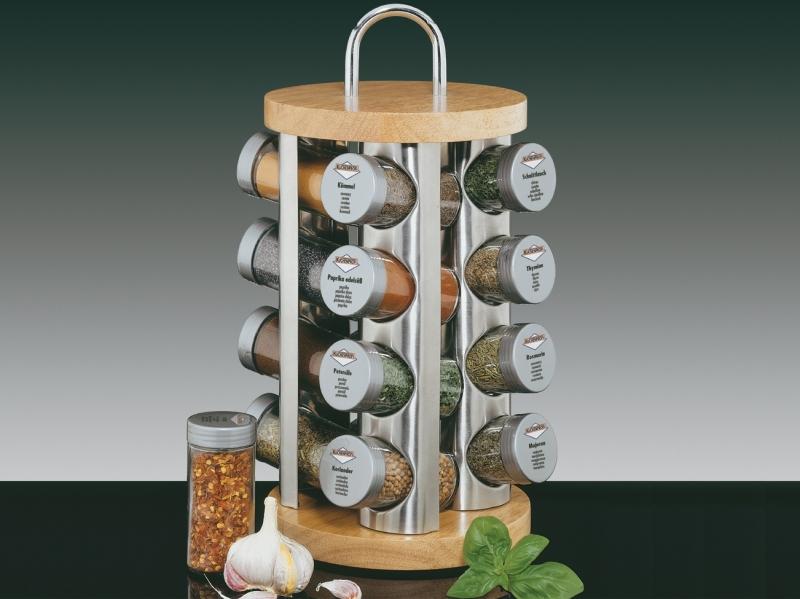 Küchenprofi 16-dílný stojan na kořenky, nerez/dřevo, přírodní