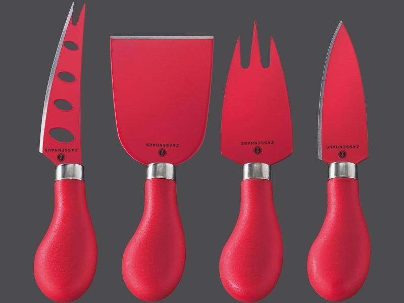 Zassenhaus 4-dílná sada nožů na sýr, červená