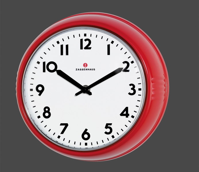 Zassenhaus retro nástěnné hodiny, 24 cm, červené