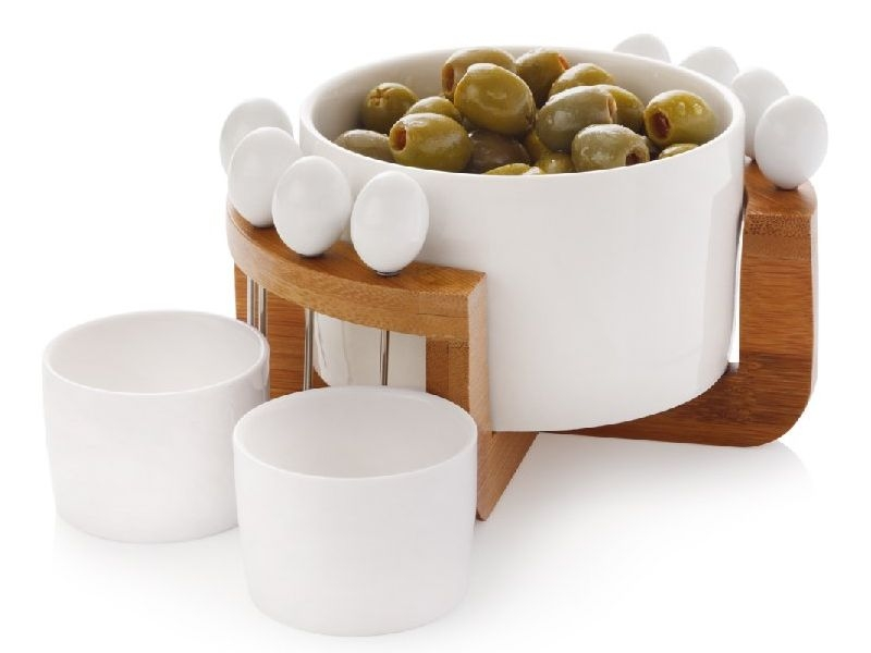 Maxwell & Williams 12-dílná sada na olivy porcelán/dřevo