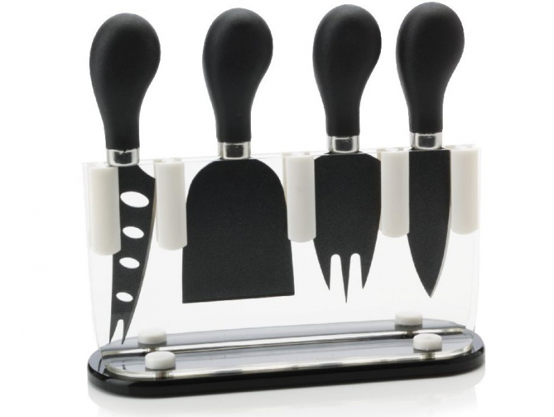 Maxwell&Williams set 4 nožů na sýr ve stojanu, černá