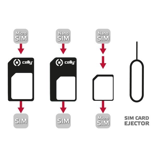 Adaptér SIM karet Celly z nanoSIM/ microSIM na SIM karty SIMKITAD