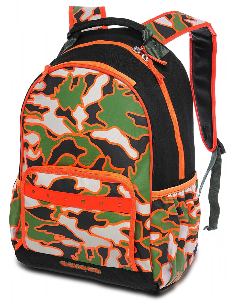 Crocs Boys Large BTS Backpack Black/Army Green/Khaki/Orange